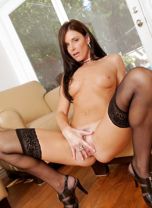 Graceful mature fox in nylons taking off her lingerie and fingering her cunt