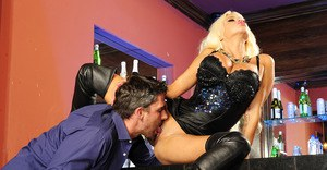 Top-heavy blonde bombshell in thigh boots gets fucked for cum on her face