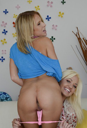 Frisky blonde lassies revealing their hot fannies and inviting holes