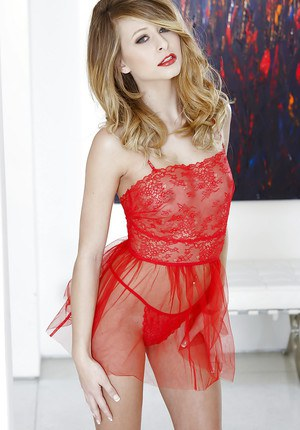 Adorable blonde floosie getting rid of her red lacy lingerie
