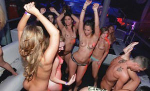Jizz-starving party sluts getting shagged hardcore at the wild club orgy