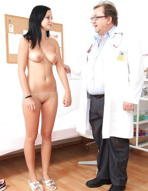 Sensitive brunette goes to doctor and shows him her sweet pussy