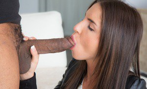 Good-looking Latina babe swallows immensely big black bazooka