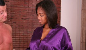 Wet ebony whore Evanni is always there where action takes place