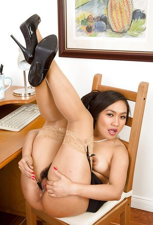 Slender amateur Asian babe Amy Latina fondles her cunt in office room
