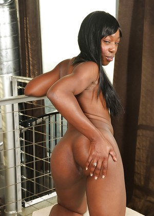 Cute ebony milf Pepper Deville shows off her big brown nipples
