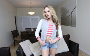 Fine-featured teen babe Briana OShea shows her shaved insatiable pussy
