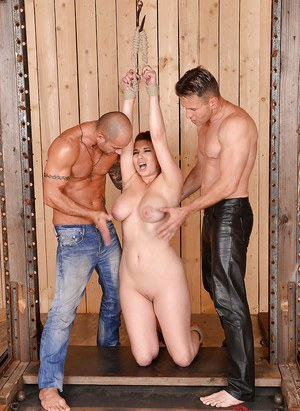 BDSM victim with big tits Leila Moon likes what males do with her