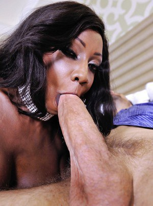Cool ebony milf Diamond Jackson tastes white missile and big balls