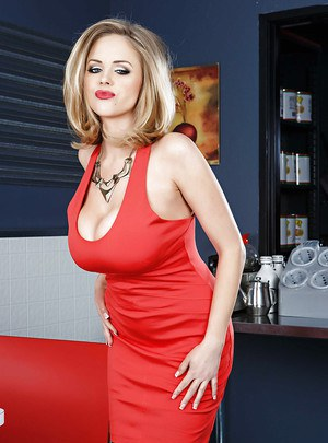 Well-graced babe in awesome stockings Katie Kox fondles her big tits