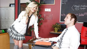 Curvaceous schoolgirl with big tits Sienna Day swallows nicely