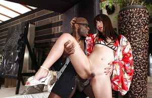 Zoftick asian chick has some anal fun with a huge black shaf for some jizz