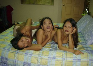 Cute Asian lesbian has exciting adventure with her young friends