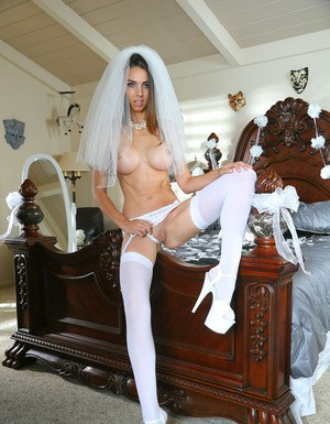 Slutty babe in white stockings plays role of super horny bride