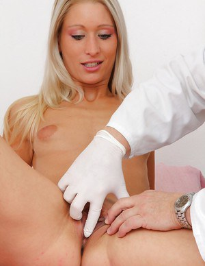 Slim blondie gets her pussy stretched and her tits pumped by a naughty gyno