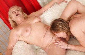 Lecherous chubby grannies have some lesbian fun using their sex toys