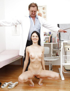 Loveable young floosie going through pussy examination and pissing