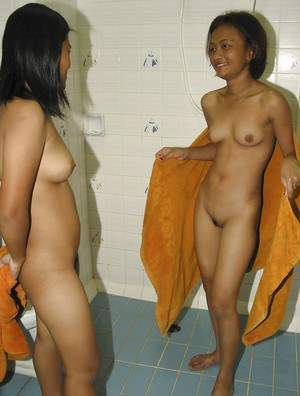 Joyful Asian lesbians May and Joy take shower and get sexy fun