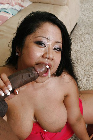 Pure Asian brunette Kya Tropic looks prettier with cum on face
