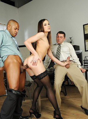 Office slut Ashley likes the feeling of intense double penetration