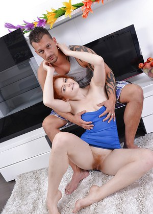 Sultry redhead amateur with hairy cunt has some cock sucking and fucking fun