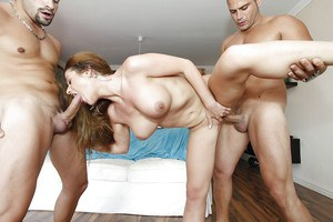 Gorgeous MILF gets mouth fucked and double penetrated by two well-hung lads