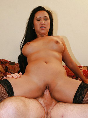 Lecherous asian MILF in stockings has some fun with two stiff cocks