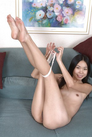 Lusty asian amateur with skinny body undressing and teasing her gash