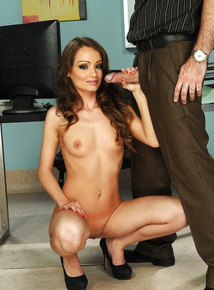 Skinny european office slut gives head and gets shagged for some tasty jizz