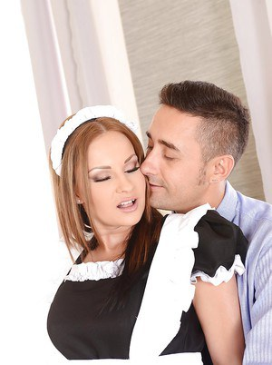 Superb European maid Abbie Cat opens her dirty mouth and sucks