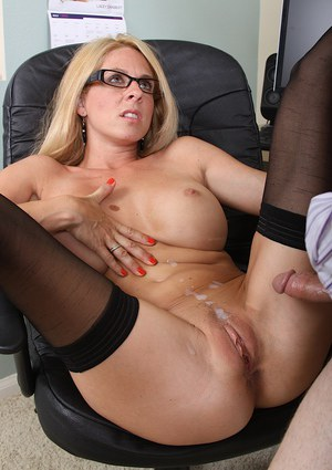 Talented and brilliant cougar Angela Attison has affair in office room
