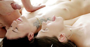 European brunettes Gerta and Neona eat penis tenderly and sweetly