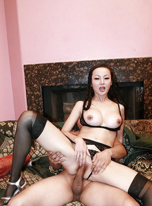 Asian girl with lovely breasts Ange Venus is amused by anal banging