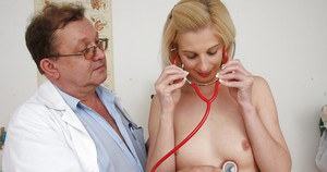 Fresh girl Mia Hilton gets inspected by nasty oldman in glasses