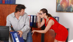 Unique office slut Paige Turnah gives exemplary blowjob to her partner