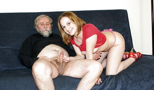 Sultry young lady gets licked and then banged by horny oldman