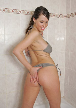 Horny busty babe taking shower and teasing herself wit water jets