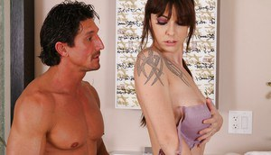 Beautiful brunette with tattoos Chase Evans jerks off Tommy boy