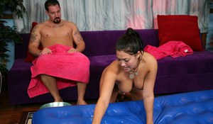 Oiled Asian vixen London Keys is fond of tasting precum of customer
