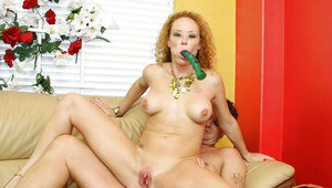 Curly-haired mature slut has some hard fun with two cocks and sex toys