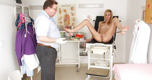 Skinny blonde chick going through her full gyno examination
