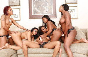 Cute ebony lesbians wear strap-ons and fuck their lovely bitches