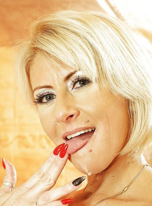 Good-looking mature blonde Magda is a professional cock-sucking babe
