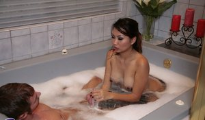 Seductive asian masseuse has some wet fun with her client's meaty pole