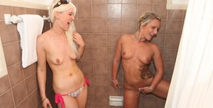 Lecherous blondies sharing a stiff dick with their hot redhead girlfriend
