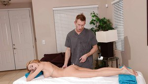 Petite blonde with round boobs has some hardcore fun with a big cock masseur