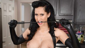 Marvelous sexy housewife Isis Love strokes her hole with leather glove