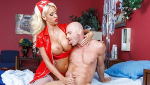 Nurse uniform suits this bosomy blonde Courtney Taylor in a best way