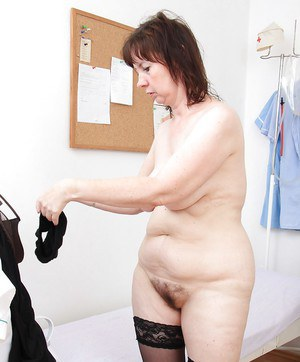 Fatty mature gal in nylons stuffing her twat with gyno tools and sex toys