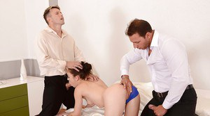 Foxy european slut gets her asshole drilled by two boners and filled with cum